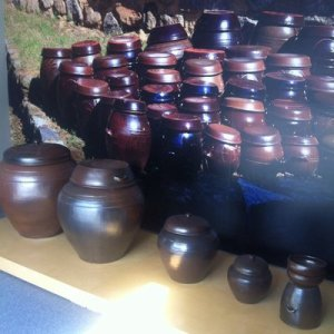 Korean porous pots used to make Soy Sauce and Kimchi. I will use them for decoration.